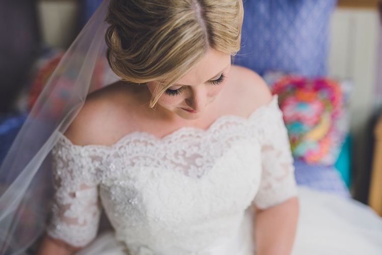 Bride In Off The Shoulder Justin Alexander Dress