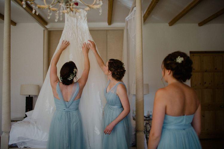 Bridesmaids in Blue Chiffon Jenny Yoo Dresses | Woodland Themed Wedding at Achnagairn Estate near Inverness, Scotland | Zoe Alexander Photography