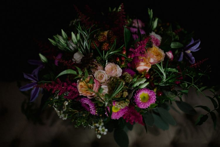 Deep Pink Wedding Bouquet | Woodland Themed Wedding at Achnagairn Estate near Inverness, Scotland | Zoe Alexander Photography
