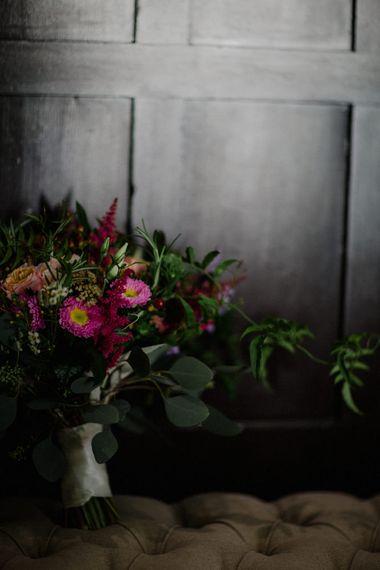 Deep Red Bridal Bouquet | Woodland Themed Wedding at Achnagairn Estate near Inverness, Scotland | Zoe Alexander Photography