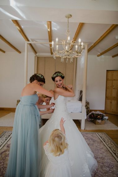 Getting Ready | Bride in Modeca Bridal Gown | Bridesmaids in Blue Jenny Yoo Gowns | Woodland Themed Wedding at Achnagairn Estate near Inverness, Scotland | Zoe Alexander Photography