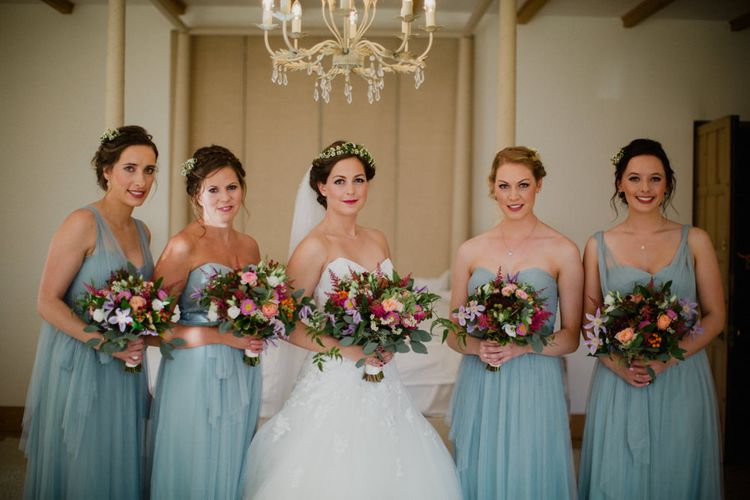 Bride in Modeca Bridal Gown | Bridesmaids in Blue Jenny Yoo Dresses | Woodland Themed Wedding at Achnagairn Estate near Inverness, Scotland | Zoe Alexander Photography