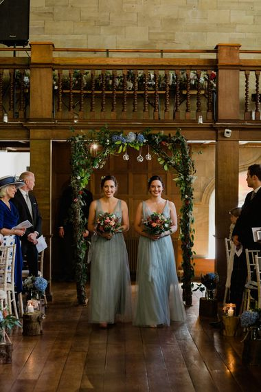 Wedding Ceremony | Bridesmaids in Jenny Too Blue Dresses | Woodland Themed Wedding at Achnagairn Estate near Inverness, Scotland | Zoe Alexander Photography