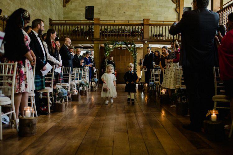 Wedding Ceremony | Flower Girl in Monsoon | Page Boy | Woodland Themed Wedding at Achnagairn Estate near Inverness, Scotland | Zoe Alexander Photography