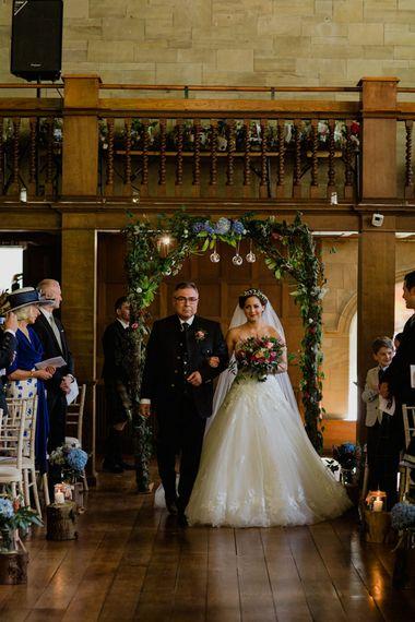 Wedding Ceremony | Bridal Entrance in Modeca Bridal Gown | Woodland Themed Wedding at Achnagairn Estate near Inverness, Scotland | Zoe Alexander Photography