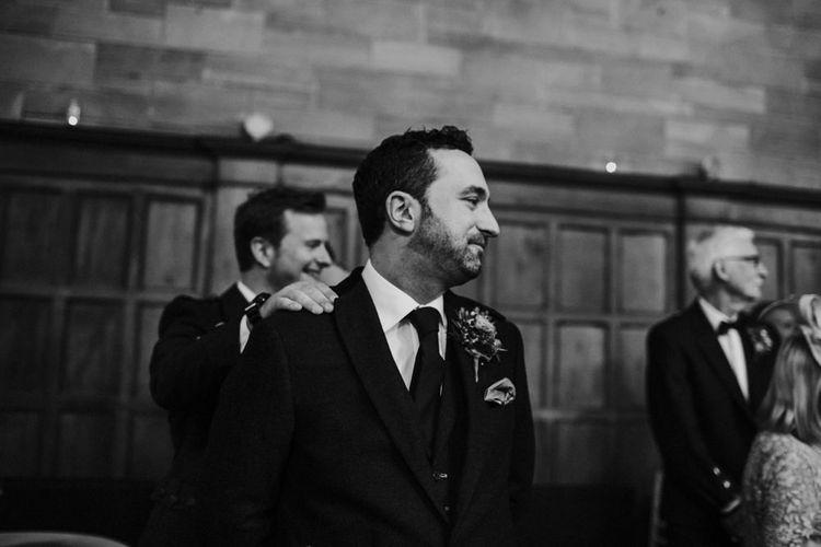 Wedding Ceremony | Groom in Tartan Kilt | Woodland Themed Wedding at Achnagairn Estate near Inverness, Scotland | Zoe Alexander Photography