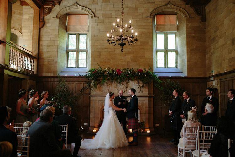 Wedding Ceremony | Bride in Modeca Bridal Gown | Groom in Tartan Kilt | Woodland Themed Wedding at Achnagairn Estate near Inverness, Scotland | Zoe Alexander Photography