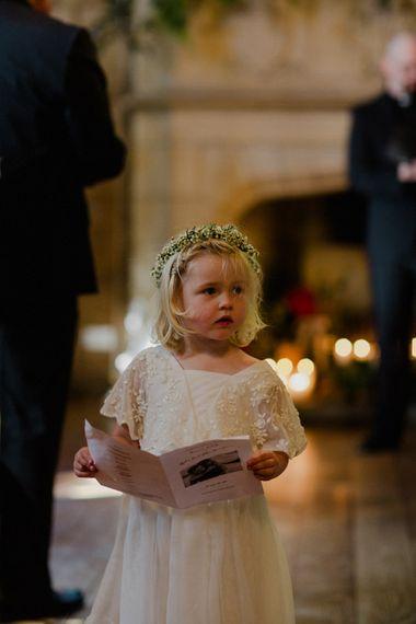 Flower Girl in Monsoon Dress | Woodland Themed Wedding at Achnagairn Estate near Inverness, Scotland | Zoe Alexander Photography