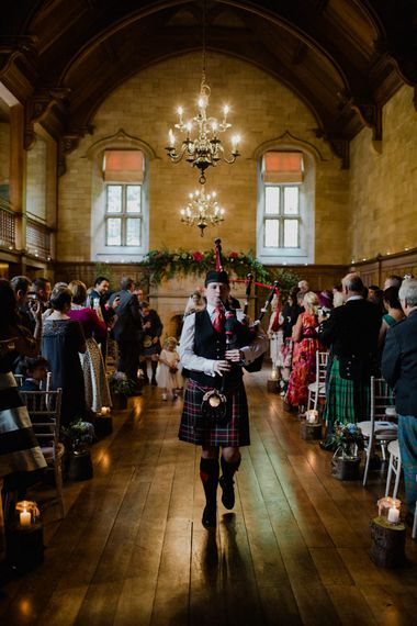 Bagpiper | Woodland Themed Wedding at Achnagairn Estate near Inverness, Scotland | Zoe Alexander Photography