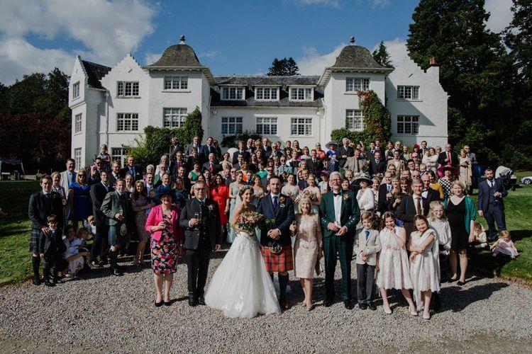 Wedding Guests | Bride in Modeca Bridal Gown | Groom in Tartan Kilt | Woodland Themed Wedding at Achnagairn Estate near Inverness, Scotland | Zoe Alexander Photography