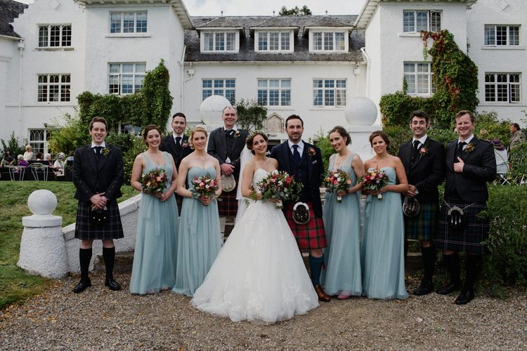 Bridesmaids in Pale Blue Jenny Yoo Dresses | Bride in Modeca Bridal Gown | Groomsmen in Tartan Kilts | Woodland Themed Wedding at Achnagairn Estate near Inverness, Scotland | Zoe Alexander Photography