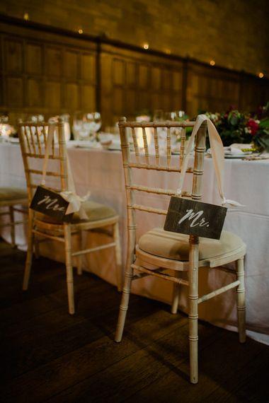 Chair Back Signs | Woodland Themed Wedding at Achnagairn Estate near Inverness, Scotland | Zoe Alexander Photography