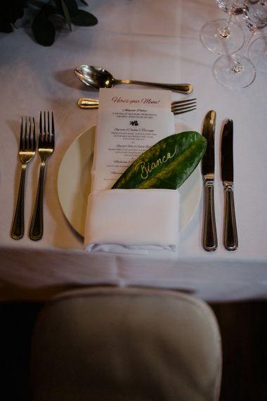 Leaf Place Setting | Woodland Themed Wedding at Achnagairn Estate near Inverness, Scotland | Zoe Alexander Photography
