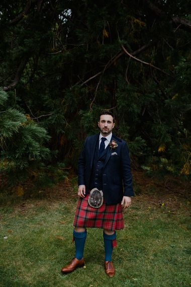 Groom in Tartan Kilt | Woodland Themed Wedding at Achnagairn Estate near Inverness, Scotland | Zoe Alexander Photography