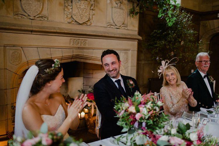 Top Table Reception | Bride in Modeca Bridal Gown | Groom in Tartan Kilt | Woodland Themed Wedding at Achnagairn Estate near Inverness, Scotland | Zoe Alexander Photography