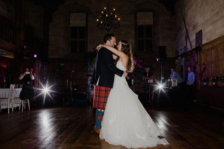 Bride in Modeca Bridal Gown | Groom in Tartan Kilt | Woodland Themed Wedding at Achnagairn Estate near Inverness, Scotland | Zoe Alexander Photography