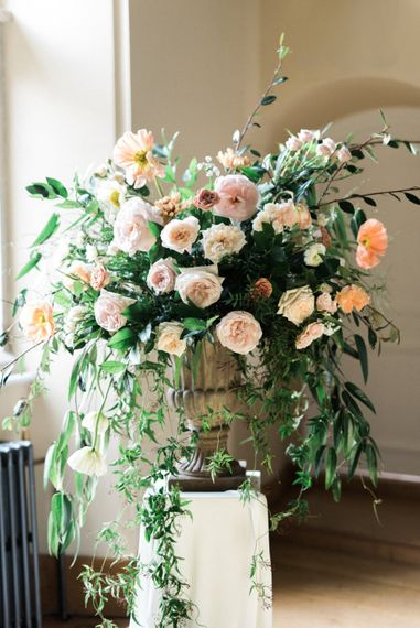 Floral Arrangement | Romantic Blush Wedding Inspiration by The Wedding Stylist at Notley Abbey with Joanna Truby Flowers | Emma Pilkington Photography | Opaline Films