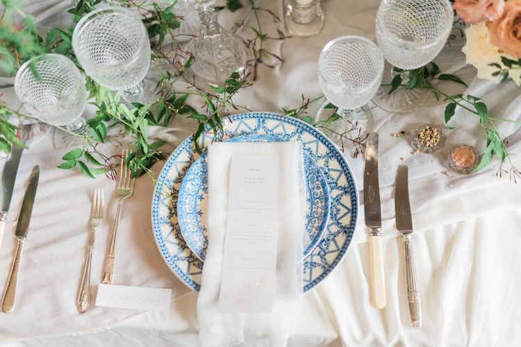 Place Setting | Romantic Blush Wedding Inspiration by The Wedding Stylist at Notley Abbey with Joanna Truby Flowers | Emma Pilkington Photography | Opaline Films