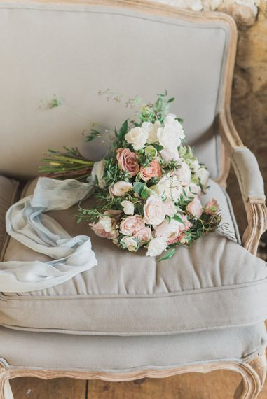 Blush Pink Bridal Bouquet | Romantic Blush Wedding Inspiration by The Wedding Stylist at Notley Abbey with Joanna Truby Flowers | Emma Pilkington Photography | Opaline Films