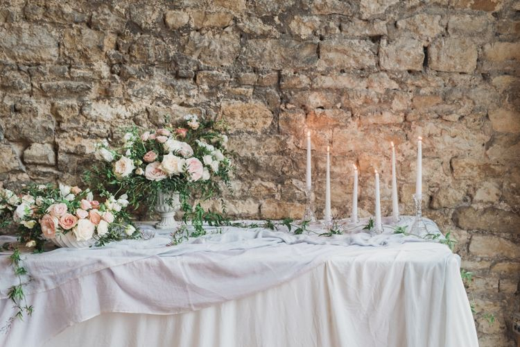 Wedding Flowers | Tablescape | Romantic Blush Wedding Inspiration by The Wedding Stylist at Notley Abbey with Joanna Truby Flowers | Emma Pilkington Photography | Opaline Films