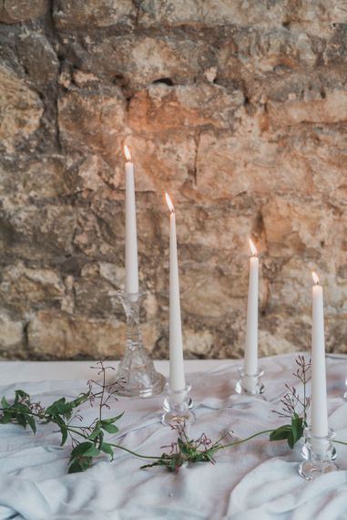 Candlesticks | Tablescape | Romantic Blush Wedding Inspiration by The Wedding Stylist at Notley Abbey with Joanna Truby Flowers | Emma Pilkington Photography | Opaline Films