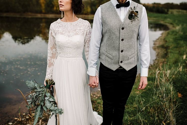 Boho Bride in Shikoba Bride Wedding Dress | Groom in Kaye Hannabuss Textiles Grey Waitcoat | Boho Winter Tipi Wedding Inspiration | Styling & Concept by Pretty Creative | Amy Faith Photography