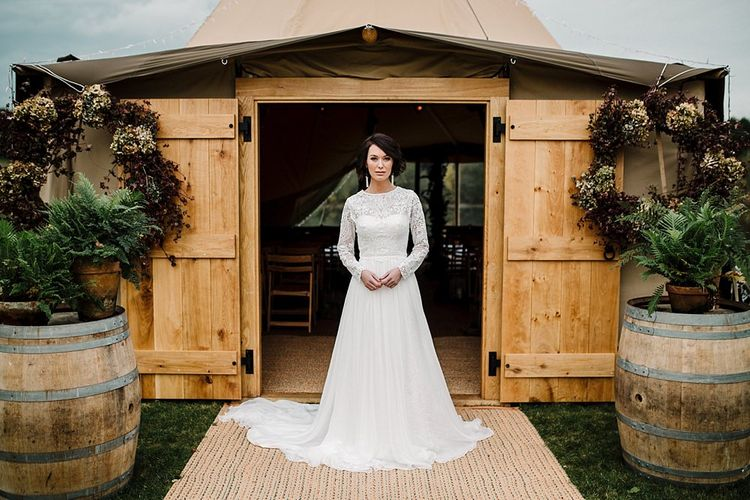 Tipi by All About Me Marquees | Boho Bride in Shikoba Bride Wedding Dress | Boho Winter Tipi Wedding Inspiration | Styling & Concept by Pretty Creative | Amy Faith Photography