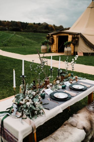 Winter Tablescape with Nordic Touches | Hattie Boo Designs Wedding Stationery | Boho Winter Tipi Wedding Inspiration | Styling & Concept by Pretty Creative | Amy Faith Photography