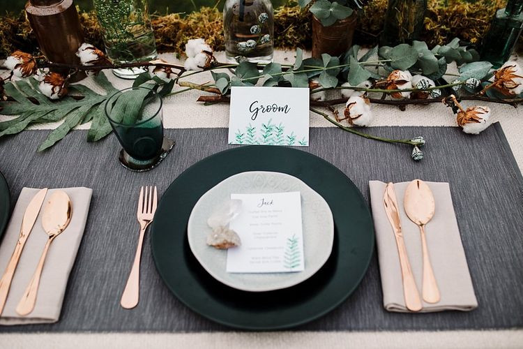 Place Setting | Hattie Boo Designs Wedding Stationery | Boho Winter Tipi Wedding Inspiration | Styling & Concept by Pretty Creative | Amy Faith Photography