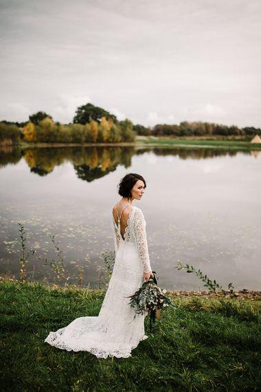 Boho Bride in Shikoba Bride Wedding Dress | Boho Winter Tipi Wedding Inspiration | Styling & Concept by Pretty Creative | Amy Faith Photography