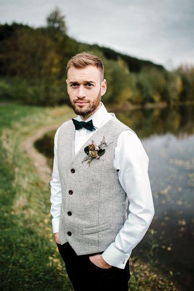 Groom in Kaye Hannabuss Textiles Grey Waitcoat | Boho Winter Tipi Wedding Inspiration | Styling & Concept by Pretty Creative | Amy Faith Photography