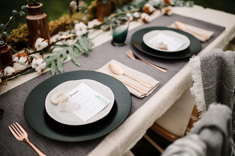Place Settings | Hattie Boo Designs Wedding Stationery | Boho Winter Tipi Wedding Inspiration | Styling & Concept by Pretty Creative | Amy Faith Photography