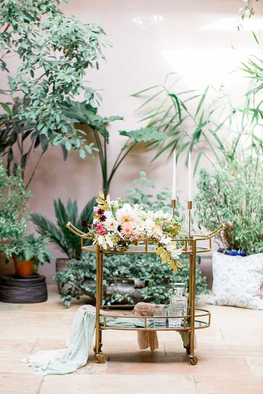 Gold Hostess Trolley | Botanical Boho Luxe Inspiration | Philippa Sian Photography