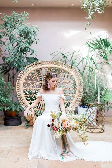 Bride on Peacock Chair | Botanical Boho Luxe Inspiration | Philippa Sian Photography