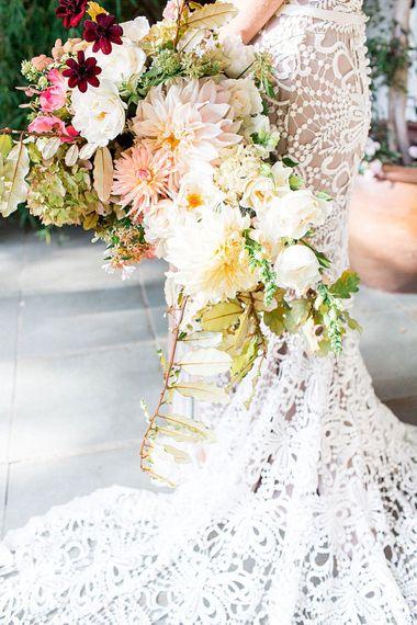 Floribunda Rose Dahlia Bridal Bouquet | Botanical Boho Luxe Inspiration | Philippa Sian Photography