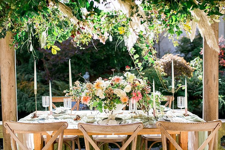 Flower Installation | Table Scape | Botanical Boho Luxe Inspiration | Philippa Sian Photography