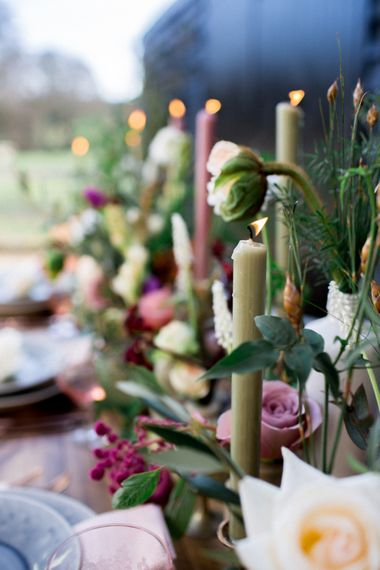 Rustic Table Scape For Wedding With Pink Candles