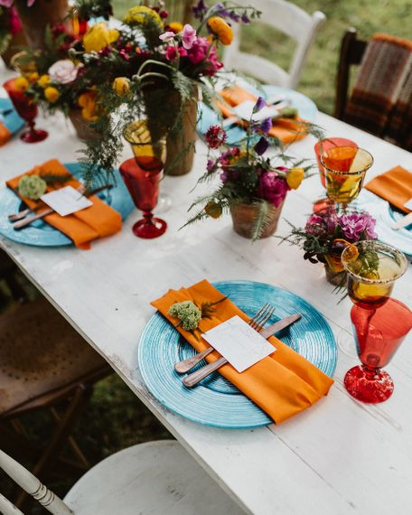 Brightly Coloured Table Set Up For Wedding