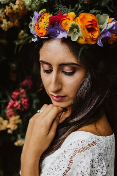 Bride With Brightly Coloured Flower Crown