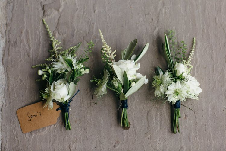 White & Green Buttonholes For Wedding