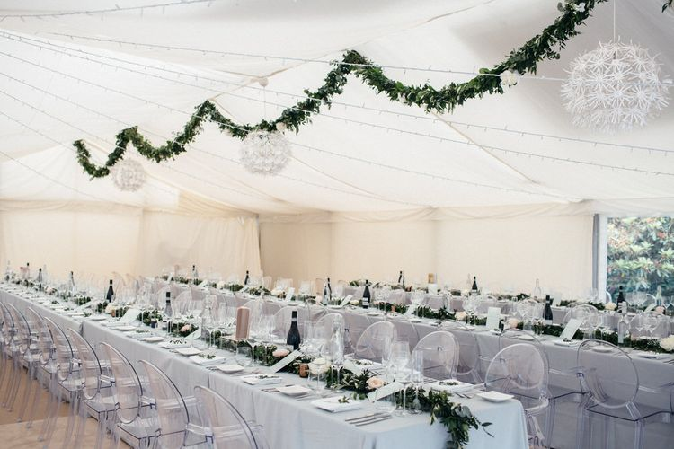 Elegant Marquee With Foliage & Grey Table Linen
