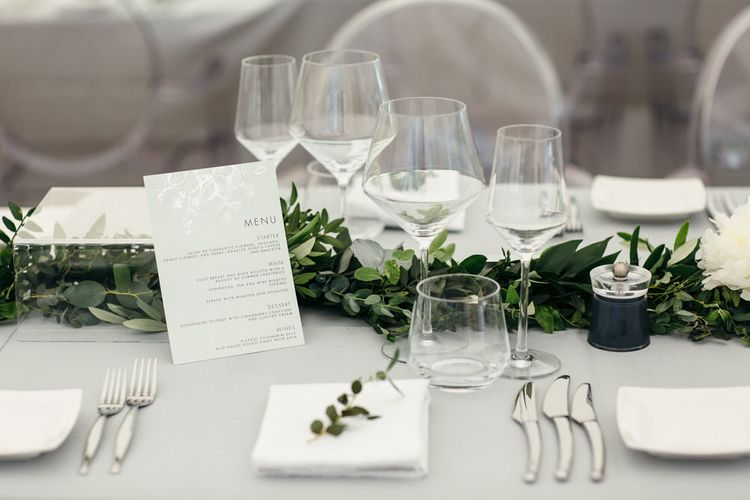 Grey Table Linen With Foliage Runners