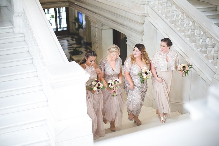 Bridesmaids in Rose Gold ASOS Sequin Dresses   Kirsty Mackenzie Photography   Insta Wedding Films
