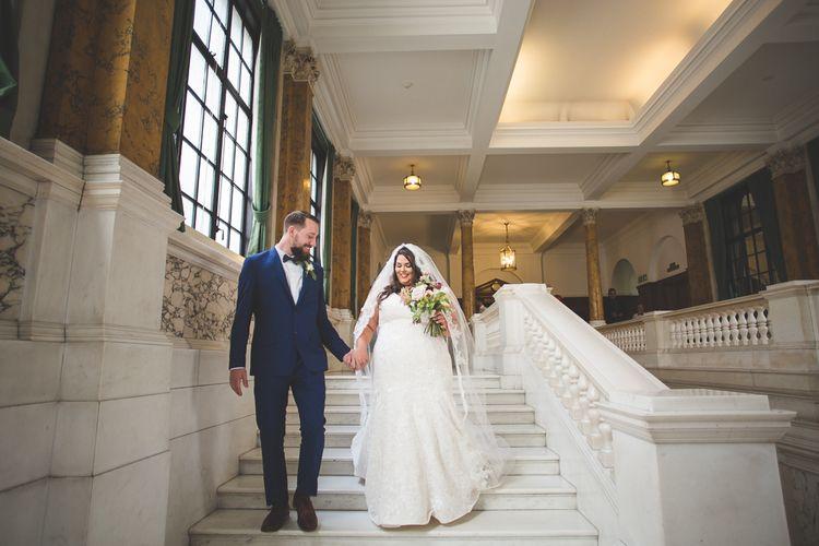 Bride in Lace Oleg Cassini Wedding Dress from Davids Bridal   Groom in River Island Suit   Kirsty Mackenzie Photography   Insta Wedding Films