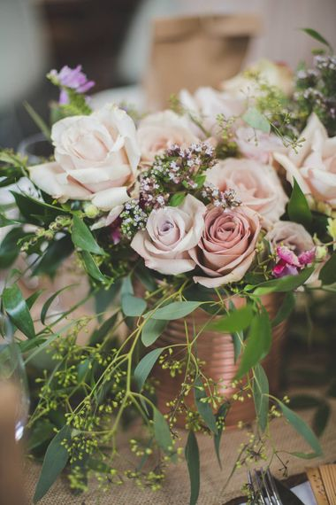 Rose Gold Spray Painted Tin Cans & Wedding Flowers   Kirsty Mackenzie Photography   Insta Wedding Films