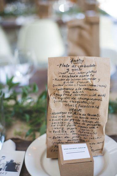 Brown Paper Bag Calligraphy Menus   Kirsty Mackenzie Photography   Insta Wedding Films