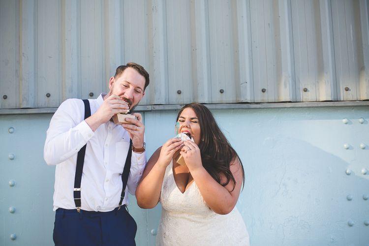 Bride & Groom with Milo & Hector's Ice Cream Sandwich  Kirsty Mackenzie Photography   Insta Wedding Films