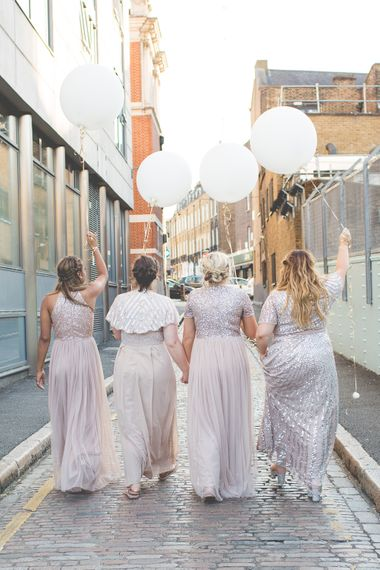 Giant Balloons   Bridesmaids in Rose Gold ASOS Sequin Dresses   Kirsty Mackenzie Photography   Insta Wedding Films