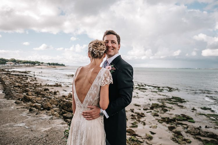 Bride & Groom Portraits by the sea