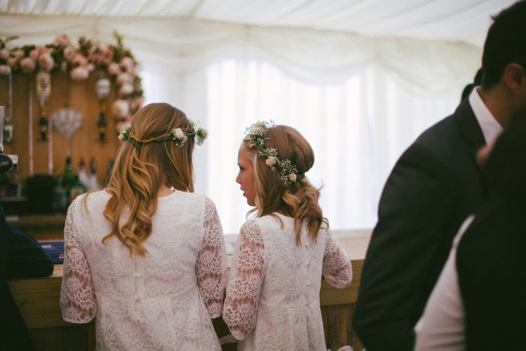 Flower Girls In White With Flower Crowns